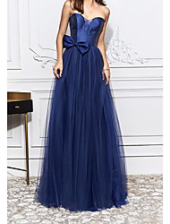 cheap -Sheath / Column Elegant Engagement Formal Evening Dress Strapless Sleeveless Sweep / Brush Train Tulle with Bow(s) 2021