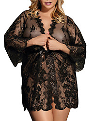 cheap -Women's Lace / Mesh Suits Nightwear Solid Colored White Black S M L