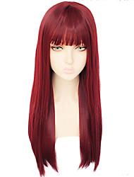Недорогие -Shakugan no Shana Unicorn Пони Косплэй парики Жен. Прямая челка 26 дюймовый Термостойкое волокно Естественные прямые Вино Красный Аниме