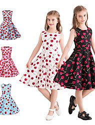 cheap -Audrey Hepburn Country Girl 1950s Vintage Vintage Inspired Hepburn Dress JSK / Jumper Skirt Girls' Kid's Cotton Costume Red and White / Red+Black / Red+Blue Vintage Cosplay Performance Family