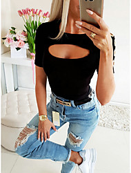 cheap -Women's Solid Colored Cut Out Blouse Basic Daily White / Black