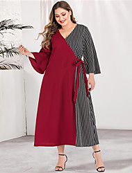cheap -Women's Plus Size Maxi A Line Dress - Long Sleeve Striped Color Block Solid Color Patchwork Spring & Summer V Neck Casual Elegant Daily Going out Flare Cuff Sleeve Red Green L XL XXL XXXL XXXXL