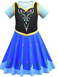 cheap -Kids Girls' Flower Cute Patchwork Halloween Print Short Sleeve Knee-length Dress Blue