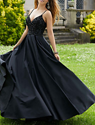 cheap -Ball Gown V Neck Floor Length Jersey Sexy / Black Party Wear / Prom Dress with Pleats / Beading 2020