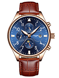 cheap -BOYZHE Men's Sport Watch Automatic self-winding Modern Style Sporty Casual Water Resistant / Waterproof Analog Black Blue Brown / Genuine Leather / Calendar / date / day / Shock Resistant