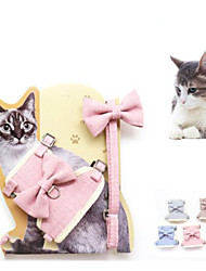 cheap -Cat Harness Leash Adjustable Soft Safety Solid Colored Cotton Yellow Blue Pink Gray Coffee 2pcs