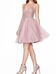 cheap -A-Line Sparkle Pink Homecoming Graduation Dress Spaghetti Strap Sleeveless Short / Mini Tulle with Crystals 2020