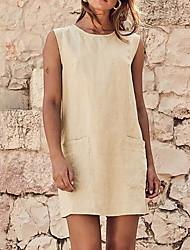 Недорогие -Жен. А-силуэт Платье - Без рукавов Сплошной цвет V-образный вырез Белый Черный Хаки S M L XL