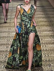 お買い得  -Aライン ボヘミアン フローラル 祝日 プロムドレス ドレス Vネック ノースリーブ フロア丈 スパンデックス 〜と スリット パターン/プリント 2020年