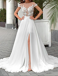 cheap -A-Line Wedding Dresses Jewel Neck Sweep / Brush Train Chiffon Tulle Short Sleeve Country Plus Size Illusion Sleeve with Crystals Appliques Split Front 2020