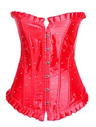 Недорогие -женский корсет большого размера для шнуровки - сексуальный / кристалл / горный хрусталь / мода, шнурок / пряжка черный фиолетовый синий s m l