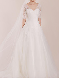 cheap -A-Line Wedding Dresses Sweetheart Neckline Sweep / Brush Train Polyester Half Sleeve Country Plus Size Illusion Sleeve with Lace Insert Appliques 2020