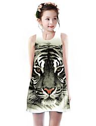 cheap -Kids Girls' Basic Cute Tiger Animal Cartoon Print Sleeveless Knee-length Dress Brown