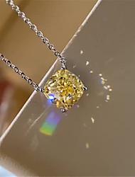 Недорогие -2 карата Синтетический алмаз Цепочка Серебристый Назначение Жен. Квадратное сокращение Дамы Стиль Роскошь Элегантный стиль Свадьба Вечерние Официальные Высокое качество Подвеска