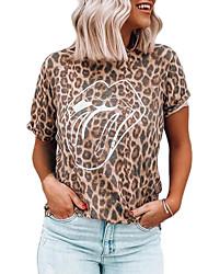 Недорогие -повседневная одежда для женщин / бохо - геометрическая / пэчворк с цветными блоками / оранжевый с круглым вырезом с принтом