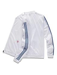 cheap -Men's Daily / Sports Basic Spring &  Fall / Spring & Summer Regular Jacket, Striped / Color Block Collarless Long Sleeve Nylon White / Black