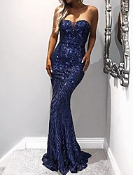 cheap -Mermaid / Trumpet Sexy Sparkle Wedding Guest Formal Evening Dress Strapless Sleeveless Sweep / Brush Train Polyester with Sequin 2020