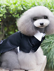 cheap -Dog Tuxedo Suit Wedding Dress Dog Clothes Black Costume Husky Border Collie Corgi Polyester Solid Colored Party / Evening Classic XS S M L XL