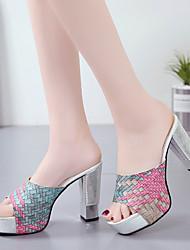cheap -Women's Heels 2020 Chunky Heel Open Toe Faux Leather Minimalism Summer Green / Blue / Gray