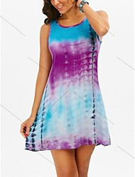 cheap -Women's Blue Dress Sheath Print S M