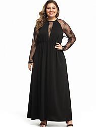 cheap -Women's Maxi Sheath Dress - Long Sleeve Solid Color Elegant Loose Black Red XL XXL XXXL XXXXL XXXXXL