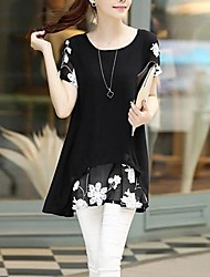 cheap -Women's Floral Layered Patchwork Print T-shirt Daily White / Black