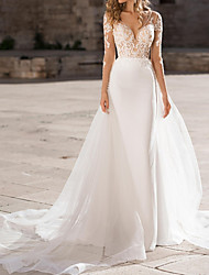 cheap -Sheath / Column Wedding Dresses Plunging Neck Sweep / Brush Train Polyester Long Sleeve Country Plus Size with Appliques 2020