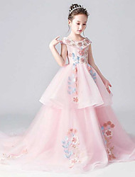 cheap -Ball Gown Chapel Train Party / Pageant Flower Girl Dresses - Polyester Cap Sleeve V Neck with Tier / Embroidery