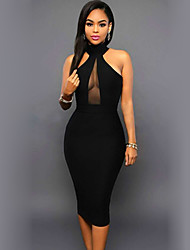 cheap -Women's Bodycon Knee Length Dress Black Sleeveless Solid Color Backless Turtleneck Hot Sexy Sophisticated S M L XL