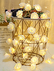 cheap -1M 10led AA Battery Powered Rose Flower Christmas Holiday String Lights Valentine's Day Wedding Party Garland Decor Luminaria