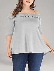 cheap -Women's Plus Size Solid Colored Ruffle Criss Cross Loose Blouse Basic Daily Off Shoulder Strap Light gray