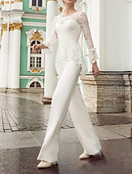 cheap -Two Piece Jumpsuits Wedding Dresses Jewel Neck Floor Length Lace Stretch Satin Long Sleeve Country Plus Size with Lace Sashes / Ribbons Bow(s) 2020