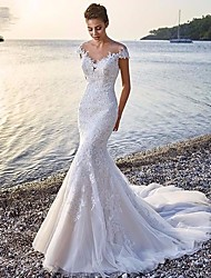 cheap -Mermaid / Trumpet Wedding Dresses Scoop Neck Court Train Organza Sleeveless Sexy Wedding Dress in Color with Appliques 2021