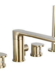 cheap -Bathtub Faucet - Contemporary Deck Mounted Roman Tub Brass Bath Shower Mixer Taps with Handshower Black or Chrome or Brushed Gold