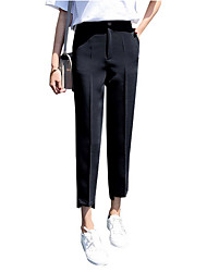 cheap -Women's Basic Chinos Pants - Solid Colored Black Beige XS S M