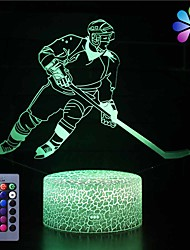 cheap -3D Ice Hockey Player Night Light USB Touch Switch Decor Table Desk Optical Illusion Lamps16 Color Changing Lights LED Table Lamp Xmas Home Love Brithday Children Kids Decor Toy Gift