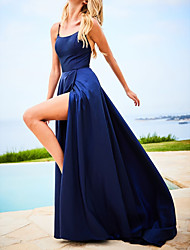 cheap -A-Line Spaghetti Strap Sweep / Brush Train Polyester Sexy / Blue Prom / Formal Evening Dress with Pleats / Split 2020