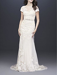 cheap -A-Line Wedding Dresses Jewel Neck Floor Length Polyester Short Sleeve Country Plus Size with Embroidery 2020