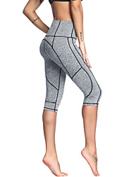 cheap -Women's High Waist Yoga Pants Side Pockets Capri Leggings Butt Lift 4 Way Stretch Breathable Black Gray Lycra Non See-through Gym Workout Running Fitness Sports Activewear Stretchy / Moisture Wicking