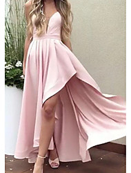 cheap -A-Line Minimalist Pink Party Wear Prom Dress Spaghetti Strap Sleeveless Asymmetrical Satin with Pleats 2020