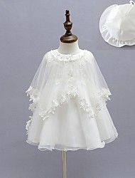 cheap -Ball Gown Tea Length First Communion Christening Gowns - Polyester Sleeveless Jewel Neck with Faux Pearl / Bow(s) / Appliques