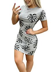cheap -Women's Bodycon Dress - Half Sleeve Print Print Basic Boho Going out Gray S M L XL