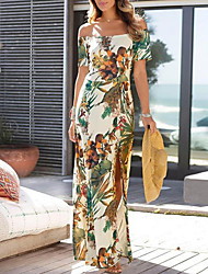 cheap -Women's Sheath Dress - Short Sleeves Print Off Shoulder Slim Beige S M L XL