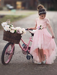 cheap -Ball Gown Asymmetrical Party / Wedding Flower Girl Dresses - Satin / Taffeta / Tulle Short Sleeve V Neck with Appliques / Solid