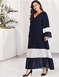 cheap -Women's Blue Black Dress Casual Daily A Line Loose Color Block Solid Color Flare Cuff Sleeve Blue & White Black & Red Pleated Patchwork Basic XL XXL