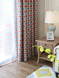 cheap -Two Panel European Style Diamond Print Living Room Bedroom Dining Room Blackout Curtain