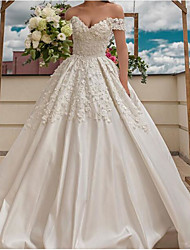 cheap -Ball Gown Wedding Dresses V Neck Floor Length Polyester Short Sleeve Country Plus Size with Embroidery Side-Draped 2020