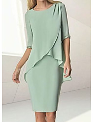 cheap -Sheath / Column Mother of the Bride Dress Elegant Jewel Neck Knee Length Chiffon Half Sleeve with Beading Ruching 2021