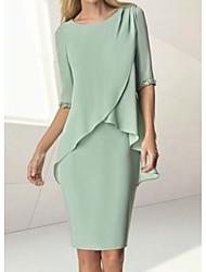 cheap -Sheath / Column Mother of the Bride Dress Elegant Jewel Neck Knee Length Chiffon Half Sleeve with Beading Ruching 2021