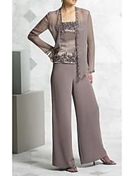 cheap -Pantsuit / Jumpsuit Square Neck Floor Length Chiffon Long Sleeve Elegant Mother of the Bride Dress with Appliques 2020